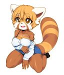 1girl 1girl 2018 absurd_res aggressive_retsuko anthro big_breasts black_bottomwear black_clothing black_panties blue_skirt bra breasts brown_eyes cleavage clothed clothing collarbone cute_fangs footwear full_body furry hair high_res kneel long_sleeves mammal off_shoulder open_mouth panties red_panda retsuko shirt shoes short_hair simple_background sitting skirt slugbox smile underwear white_background white_shirt