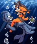 1boy 1girl amuzoreh clothed_female_nude_male clothed_sex cum male ocean razor_the_shark sega shark sonic_(series) sticks_the_jungle_badger underwater underwater_sex