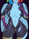 1girl 2018 anthro anthrofied breasts cameltoe clothing elzzombie equine friendship_is_magic furry mammal my_little_pony navel navel_piercing nipple_piercing nipples pegasus piercing rainbow_dash shadowbolt skinsuit tight_clothing torn_clothing wings