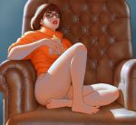 clothed couch cup drink looking_at_viewer panties scooby_doo sitting steven_stahlberg velma_dinkley
