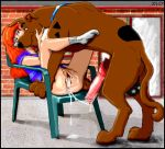 bestiality cum_in_pussy daphne_blake erect_penis knotted_penis legs_up scooby scooby_doo shaved_pussy