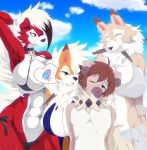 <3 1girl abs anthro big_breasts bikini blue_eyes blush breasts brown_fur brown_hair canine cleavage clothed clothing cloud dusk_lycanroc eyelashes fur furry green_eyes group hair lycanroc male micro_bikini midday_lycanroc midnight_lycanroc neck_tuft nintendo one_eye_closed orange_fur outside pokémon pokémon_(species) q_wed red_eyes red_fur rockruff sky smile speech_bubble swimsuit teasing tuft video_games white_fur ♀ ♂