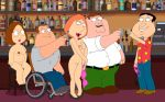 bare_feet bra breasts chubby family_guy glasses glenn_quagmire high_heels joe_swanson lois_griffin meg_griffin nipples peter_griffin shaved_pussy thighs