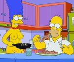 breasts cooking homer_simpson marge_simpson nipples nude pussy the_simpsons