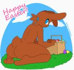 1boy 2018 3_fingers 3_toes ambiguous_gender anthro arched_back ass basket big_ass big_thighs biped black_nose blue_eyes bouncing_butt brown_fur brown_hair brown_tail butt_focus cloud digital_drawing_(artwork) digital_media_(artwork) easter easter_basket easter_egg egg english_text featureless_crotch floppy_ears fur furry gif girly grass hair holiday_message holidays humanoid_hands kneel lagomorph looking_back loop mammal nude open_mouth outside plantigrade ponytail presenting presenting_hindquarters rabbit rear_view short_tail sky snout soles text toes toony twerking url whygena