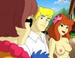 1boy 2_girls 2girls breasts daphne_blake freddy_jones glasses no_bra scooby-doo topless velma_dinkley