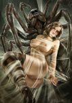 1girl arachnid aragog breasts female female_human gagged harry_potter hermione_granger nude pussy restrained spider_web