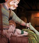 1boy 1girl anna_(frozen) clothed dress fellatio female frozen_(movie) male male/female oral penis_in_mouth red_hair redhead renx stockings