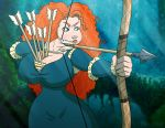 arrow arrow_and_bow big_breasts bow_(weapon) brave brave_(copyright) breasts drawsputin female merida princess_merida solo weapon