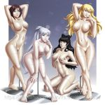 areolae big_breasts blake_belladonna breasts female idarkshadowi_(artist) mannequin nipples nude ruby_rose rwby tease transformation weiss_schnee yang_xiao_long