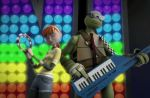 3d april_o'neil donatello gif kissing smile staring tambourine teenage_mutant_ninja_turtles tmnt_2012