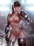 breasts cyborg georgy_stacker high_resolution mechanical_arm medium_breasts nude ponytail pussy shoulder_pads space_marine standing tied_hair very_high_resolution warhammer_40k