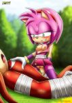 amy_rose bbmbbf blush breast cowgirl_position holding_penis knuckles_the_echidna mobius_unleashed nipples palcomix riding sega sega smile