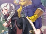 1girl ass_grab blush boris_(noborhys) captain_falcon clothed_sex doggy_position f-zero fire_emblem fire_emblem:_awakening my_unit one_breast_out one_eye_closed super_smash_bros. white_hair