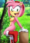 amy_rose blush breasts green_eyes mobius_unleashed nude palcomix pink_fur smile solo solo_female solo_focus sonic_(series) tagme