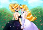 ass big_ass big_breasts bowser bowsette breasts female louverusee princess_peach smile super_mario_bros. wedding wedding_dress yuri