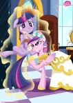 2girls alicorn clothed_female_nude_female dress equestria_untamed female_unicorn forced friendship_is_magic horn insertion my_little_pony pony princess_cadance spread_legs suspended_in_midair tail tears twilight_sparkle unicorn vaginal vaginal_insertion wedding_dress wings