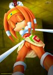 1girl ass_visible_through_thighs bound female mobius_unleashed no_panties palcomix pussy sega solo tikal_the_echidna unconscious upskirt