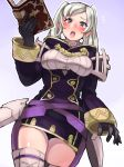 1girl big_breasts blue_background blue_eyes blush book boris_(noborhys) clothing fire_emblem fire_emblem:_awakening looking_at_viewer mouth_open my_unit open_mouth robin_(fire_emblem) stockings thick_thighs white_background white_hair