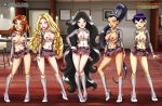 5_girls 5girls breasts cassidy exposed_breasts halinor high_heels kadma looking_at_viewer nerissa no_bra no_panties palcomix partially_clothed pussy short_skirt skirt standing w.i.t.c.h. yan_lin