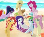 7girls applejack_(mlp) ass beach breasts charliexe equestria_girls fluttershy_(mlp) friendship_is_magic long_hair looking_at_viewer my_little_pony nude outdoor outside pinkie_pie_(mlp) rainbow_dash_(mlp) rarity_(mlp) sunset_shimmer twilight_sparkle_(mlp)