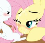 1girl after_fellatio angel_(mlp) blush cum cum_on_face cumstring erection female_pegasus fluttershy fluttershy_(mlp) friendship_is_magic heart_eyes interspecies looking_at_each_other male_rabbit my_little_pony one_eye_closed pegasus penis pony rabbit soulcentinel