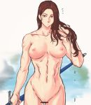breasts brown_eyes brown_hair censored completely_nude high_resolution large_filesize long_hair looking_at_viewer medium_breasts muscle muscular_female navel nipples nude paipan potential_duplicate pussy scar sheath sheathed simple_background sword very_high_resolution weapon