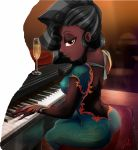 ass black_girl black_hair brown_hair dark-skinned_female dark_skin dress ebony equestria_girls hair_over_one_eye long_dress long_hair looking_at_viewer my_little_pony my_little_pony_friendship_is_magic piano piano_keys sunset_shimmer very_dark_skin wine wine_glass