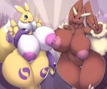 1girl 3_fingers 5_fingers abstract_background anthro big_breasts blush breast_squish breasts chest_tuft clothing crossover digimon duo fingerless_gloves fur furry gloves group huge_breasts lactating looking_at_viewer lopunny megustalikey milk multicolored_skin nintendo nipple_rubbing pokémon pokémon_(species) pussy renamon small_head sparkle thick_thighs tuft two_tone_skin v_sign video_games