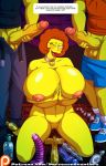 dildo erect_nipples erection huge_breasts huge_penis kneeling maude_flanders nude shaved_pussy the_simpsons thighs wink