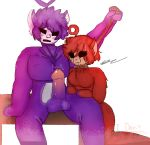 1boy 1girl antenna bench big_balls big_penis black_eyes blood_on_eyes breasts choking erection forced freckles nervous no_eyes noose noose_grab pale_skin po_(slendytubbies) purple_fur red_fur signature sitting slendytubbies teeth teletubbies tinky-winky_(slendytubbies)