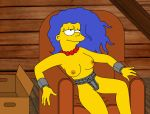 breasts chastity_belt hair_down marge_simpson nipples smile the_simpsons thighs topless