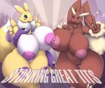 1girl 3_fingers 5_fingers abstract_background anthro big_breasts blush breast_squish breasts chest_tuft clothing crossover digimon duo english_text fingerless_gloves fur furry gloves group huge_breasts lactating looking_at_viewer lopunny megustalikey milk multicolored_skin nintendo nipple_rubbing pokémon pokémon_(species) pussy renamon small_head sparkle text thick_thighs tuft two_tone_skin v_sign video_games