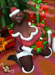 bakaras big_breasts chocolate christmas chubby clothed dark-skinned_female green_eyes looking_at_viewer tease warcraft world_of_warcraft