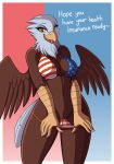 1girl 2018 absurd_res american_flag_bikini anthro avian bald_eagle beak bikini bird breasts brown_feathers clothing dialogue digital_media_(artwork) drako1997 eagle english_text eyelashes feathered_wings feathers flag_bikini furry healthcare_eagle high_res looking_at_viewer navel nipple_bulge non-mammal_breasts pussy swimsuit text tongue tongue_out united_states_of_america white_feathers wings yellow_beak yellow_eyes