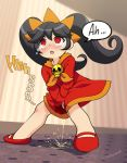 1girl ashley_(warioware) black_hair omorashi peeing puddle red_dress shoes speech_bubble wetting_self