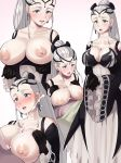 1girl 1girl :o bangs bare_breasts big_breasts blue_eyes blush boris_(noborhys) breasts breasts clothed/nude clothed_sex cross_section cum cum_on_breast dress earrings eir_(fire_emblem) ejaculation ejaculation_between_breasts fire_emblem gloves high_res jewelry long_hair looking_at_viewer nipples paizuri penis ponytail projectile_cum sweat tiara white_hair