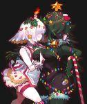 2018 2_girls bell breast_grab candle candy_cane christmas christmas_lights christmas_stocking christmas_tree gashi-gashi groping long_hair multiple_girls ornaments short_hair star stockings thong underboob