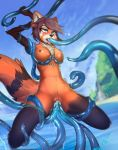 2019 ahaego ailurid anthro beach blush breasts cum cum_inside detailed_background digital_media_(artwork) fur furry hair hazelmere herm high_res intersex kati mammal nipples nude open_mouth outside penetration penis pussy red_panda sea seaside sex sky tentacle tentacle_sex tongue vaginal vaginal_penetration water white_fur
