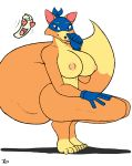 <3 1girl bandana big_breasts big_tail black_nose blue_eyes breasts canine crouching dora_the_explorer feet fox genderswap gloves looking_at_viewer map mostly_nude nickelodeon nipples nude open_mouth orange_fur signature simple_background swiper_the_fox thick_thighs toes voluptuous white_background