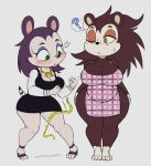 1girl 2018 ? animal_crossing anthro apron big_breasts blush breasts cleavage clothed clothing dress duo eulipotyphlan footwear freckles furry hedgehog high_heels high_res labelle_able mammal monochrome neckerchief nintendo one_eye_closed purple_yoshi_draws sable_able shoes short_stack sketch surprise tape_measure video_games