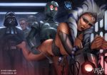 1girl ahsoka_tano alien blue_eyes breasts darth_vader droid female_alien forced grand_moff_tarkin mostly_nude panties panties_around_thighs panties_down rape restrained star_wars togruta torture