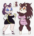 1girl 2018 animal_crossing anthro apron breasts cleavage closed_eyes clothed clothing duo eulipotyphlan furry half-closed_eyes hedgehog high_res labelle_able mammal monochrome nintendo purple_yoshi_draws sable_able short_stack sibling sisters tape_measure video_games