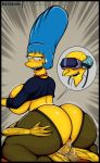 ass big_ass blue_hair bubble_butt cum cum_inside cydlock huge_ass marge_simpson milf the_simpsons yellow_skin
