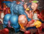 9boys abs anus ass bara beast_(x-men) blue_skin butt colossus colossus_(x-men) english_text erect_penis erection hank_mccoy human logan male male/male male_on_male male_only marvel marvel_comics mature mature_male multiple_boys multiple_humans multiple_penises muscle muscles muscular naked nude penis penis_everywhere peter_parker sex spider-man spider-man_(series) spread_legs wolverine wolverine_(x-men) x-men yaoi