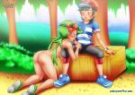 1boy 1girl ass bent_over black_hair blush brown_eyes clothed_male_nude_female fellatio green_eyes green_hair mallow_(pokemon) nude nude_female oral outdoor outside palcomix penis penis_in_mouth pokemon pokemon_sm pokepornlive sun_(pokemon) sun_(trainer)