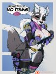 1girl 1girl 2018 anthro armor avante92 blush bottomless breasts canine chain cleft_of_venus clothed clothing crossgender dialogue digital_media_(artwork) double_entendre english_text exposed_breasts eye_patch eyewear furry gameplay_mechanics garter_belt garter_straps gun hair handgun high_res holster knife legwear looking_at_viewer mammal nintendo nipples patreon pussy pussy_juice pussy_juice_drip pussy_juice_leaking pussy_juice_string ranged_weapon red_eyes sheathed_weapon shirt_pull spiked_armor star_fox stockings text thick_thighs url video_games voluptuous weapon white_hair wide_hips wolf wolf_o'donnell