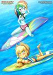applejack cowboy_hat equestria_girls equestria_untamed palcomix rainbow_dash shirt_lift surfboard