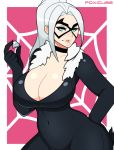 1girl big_breasts black_cat blue_eyes bodysuit breasts choker cleavage covered_navel diamond felicia_hardy foxicube_(artist) fur_trim hand_on_hip large_breasts latex looking_at_viewer marvel mask ponytail thick_thighs thighs white_hair wide_hips