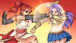 2girl angry armor bare_shoulders belt big_breasts breasts brown_eyes cleavage cunegonde femdom fight fighter fighting gauntlets ginger gloves harem_heroes hentai_heroes huge_breasts kimono mittens non-nude open_mouth ponytail punch punching purple_hair red_battler red_hair redhead shoulder_pads skirt tina_reed yuri yuri